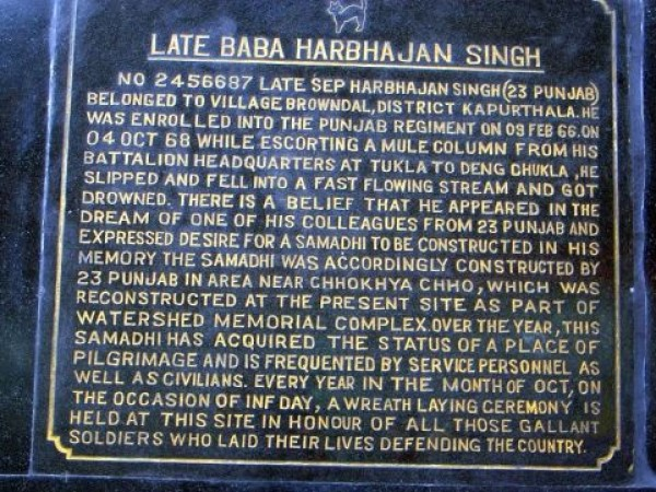 Gangtok photos, Baba Harbhajan Singh Memorial Temple - The Plaque