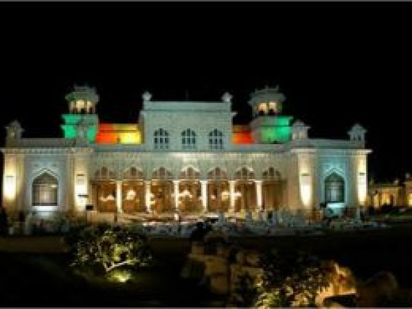 Hyderabad photos, Chow Mohalla Palace  - Colourfully lit in night