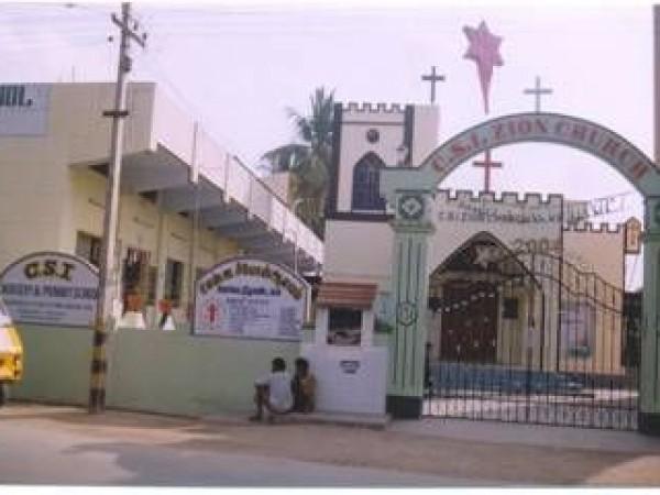 Dharmapuri photos, C.S.I Zion Church - Front View