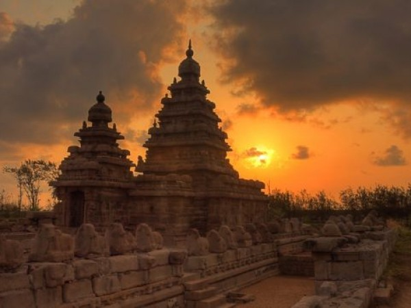 Mahabalipuram photos, Shore Temple - View At Sunset
