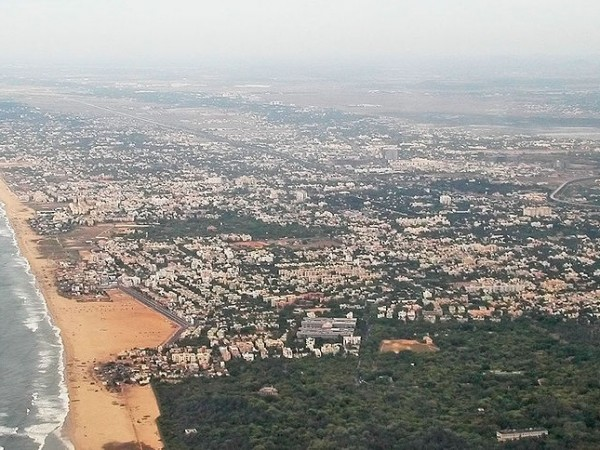 Chennai photos, Besant Nagar Beach - An Aerial view