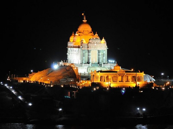 Kanyakumari photos, Vivekananda Rock - Beautiful Memorial During Night