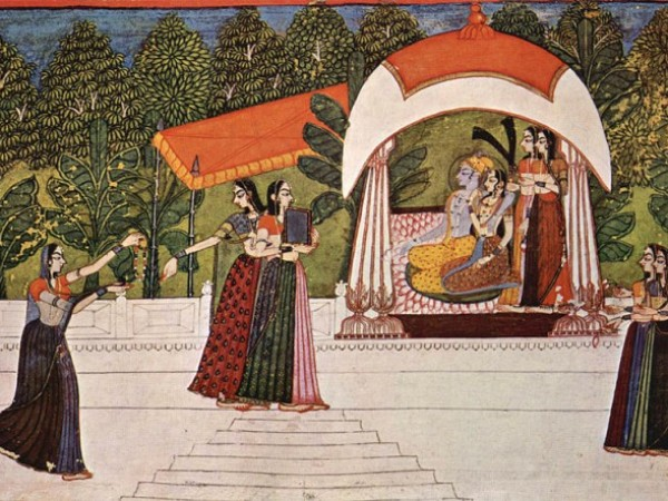 Allahabad photos, Allahabad Museum - A painting of Lord Krishna & Radha