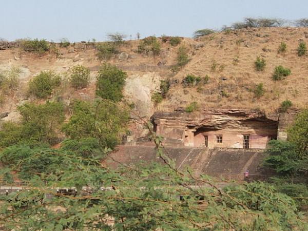 Mandu photos, Bagh Caves - A distant view