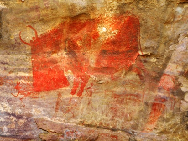 Raisen photos, Bhimbetka - A  Painting on the Rock.