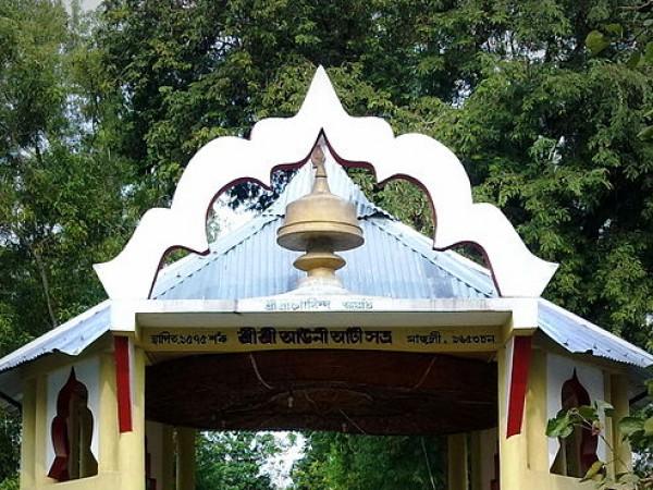 Majuli photos, Auniati Satra - Designed Gate of Auniati Satra