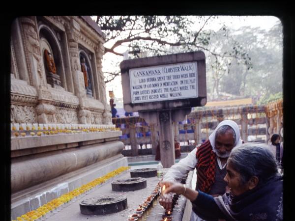 Bodh Gaya photos, Mahabodhi Temple - Candle light