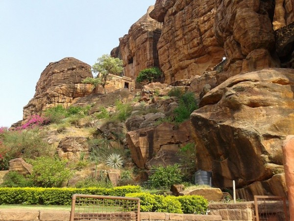 Badami photos, Outer view of cave garden