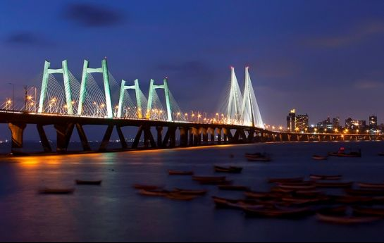 Mumbai photos, Mumbai Bridge - Brightly Lit