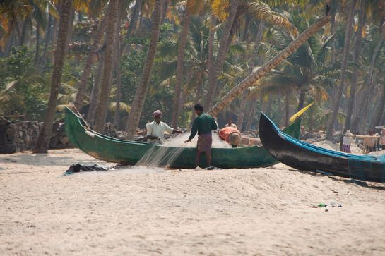 Alleppey photos, Alleppey beach - Fishermen At Work