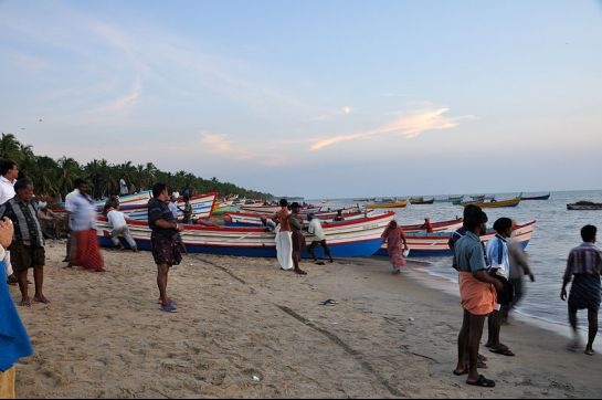 Thrissur photos, Chavakkad Beach - Locals Relaxing at the Beach