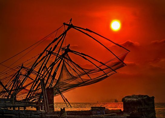 Kochi photos, Chinese Fishing Nets - Alluring Sunset