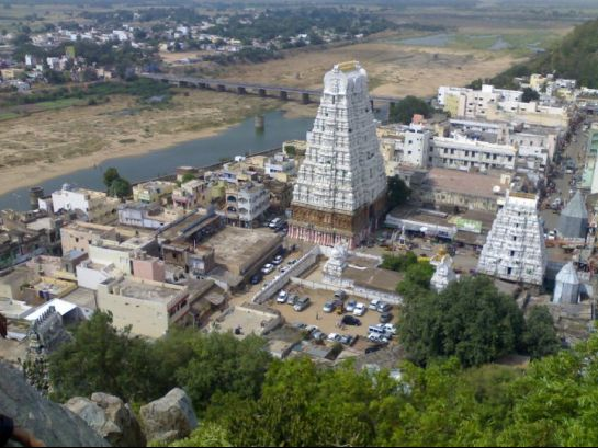Kalahasti photos, Kalahasti Temple - An aerial view