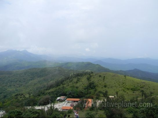 Coorg photos, Talacauvery - Distance view of talacauvery temple from Bramhagari