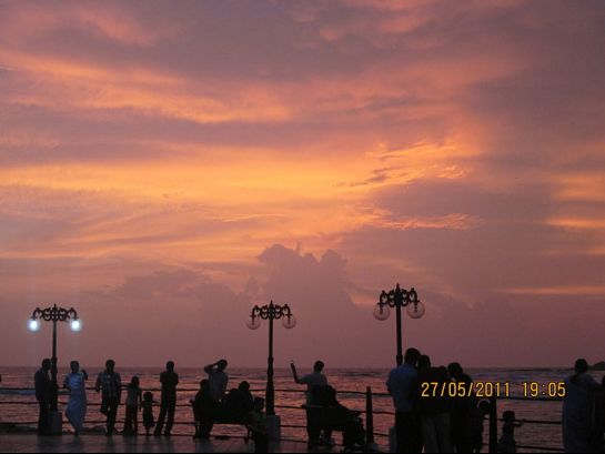 Mahe photos, Sunset at Mahe Beach