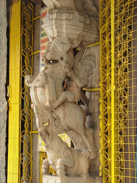 Bangalore photos, Kote Venkataramana Temple - Yali Pillar of mantapa