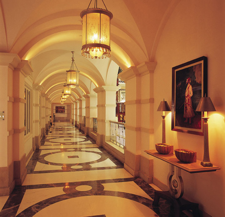 Beautifully decorated corridor lanes at the hotel