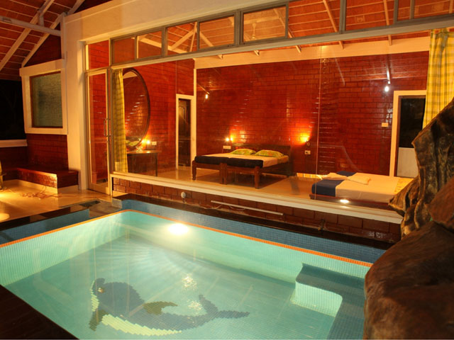 Glass room with private pool