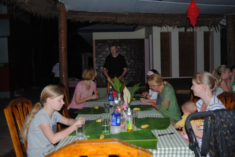Guests dining in a traditional manner