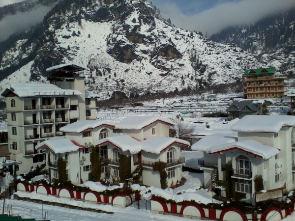 Resort Covered in Snow