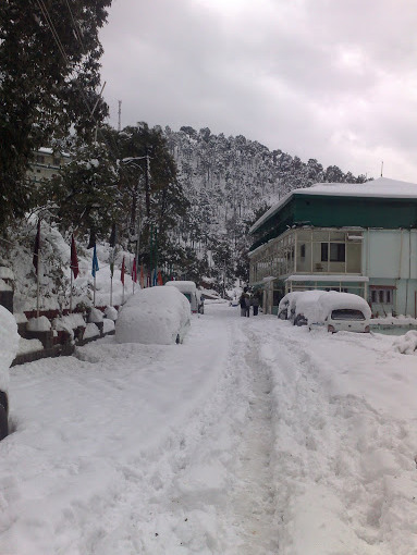 Snow by the resort