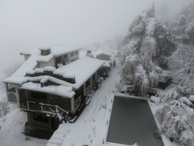 Resort during snowfall